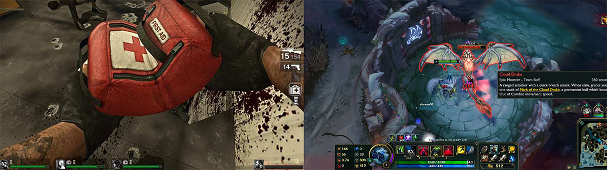 Use of red in video games, examples of Left4Dead and League of Legends