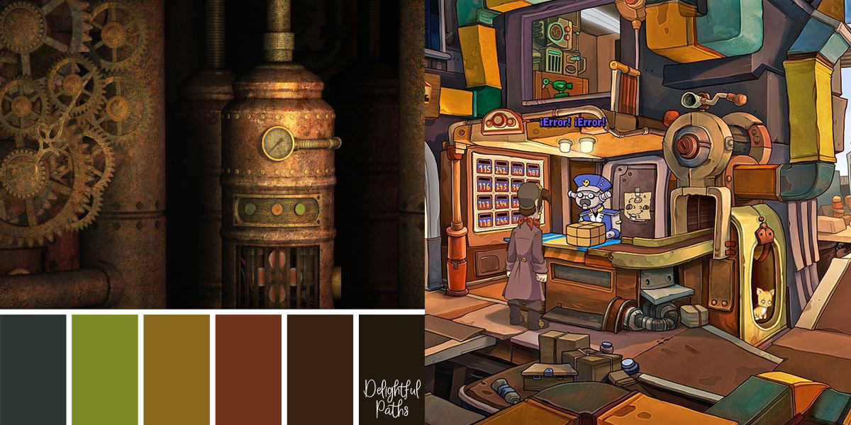 steampunk color palette compared to the game Deponia