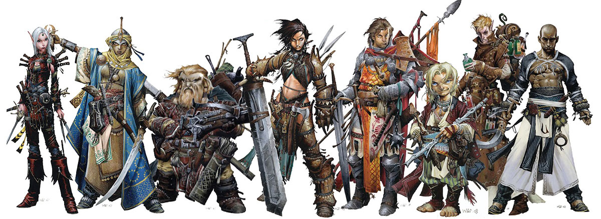 Official image of the different classes of the role-playing game ´Pathfinder´