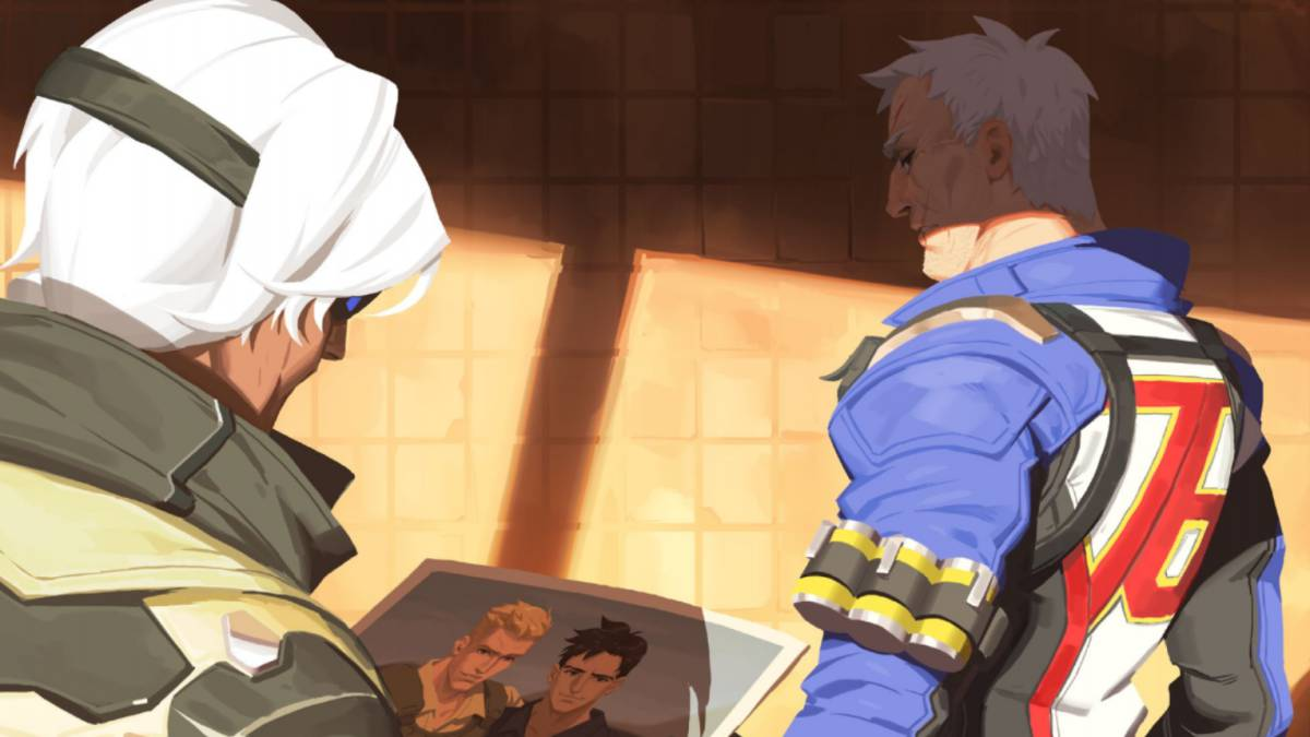 Ana and Soldier 76 in Bastet from the Overwatch comic collection.